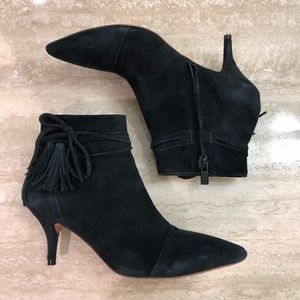 Black Suede Pointed Toe Ankle Boot Booties